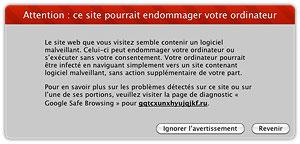 Si ce message apparait sur votre site, c'est qu'il a été infecté par un code malveillant.